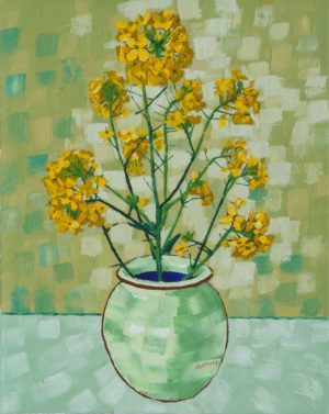 Rapeseed Still Life Vase with Fourteen Sunflowers