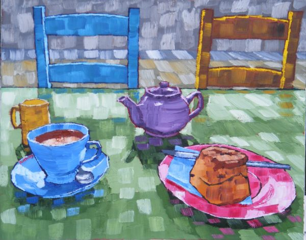Still Life Blue Enamel Coffee pot, Earthenware and Fruit