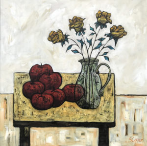 Still life with apples 2 24x24in