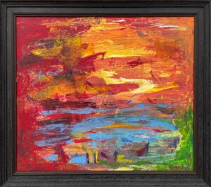 Abstract Blue Orange & Red Lake Sunset Landscape