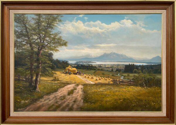 Alpine Haymaking Harvesting 20th Century Realist Oil Painting by German Landscape Artist, Wolfgang Heinz (1930–2014)2