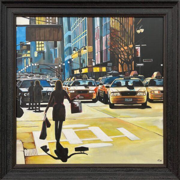 Female Figure Shopping in New York City Sunshine
