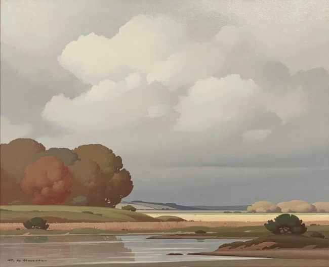 French River Landscape Oil Painting by Pierre de Clausade