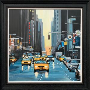 Radio City New York NYC Sunset by Contemporary British Urban Landscape Artist