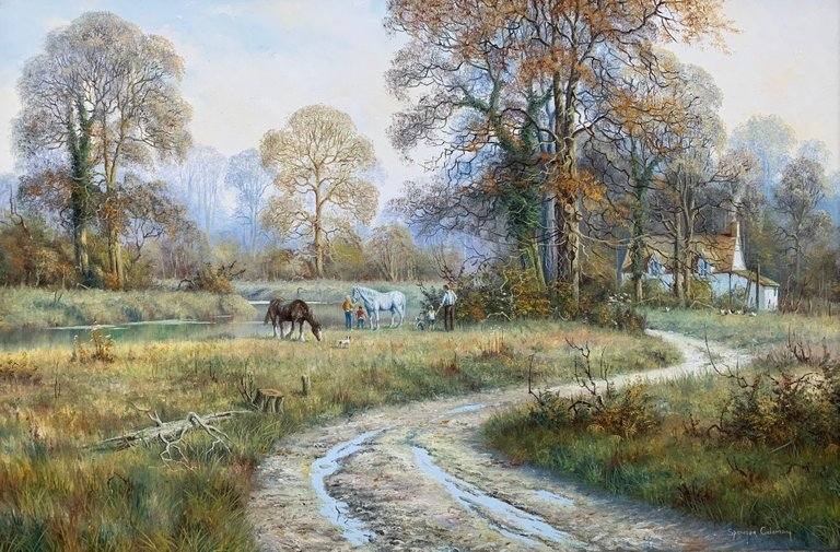 Painting Of Rural English Countryside Scene Horses