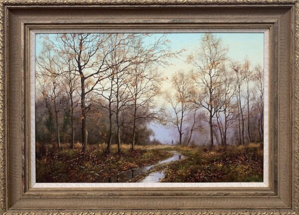 Traditional Oil Painting of Forest & Stream in the English Countryside
