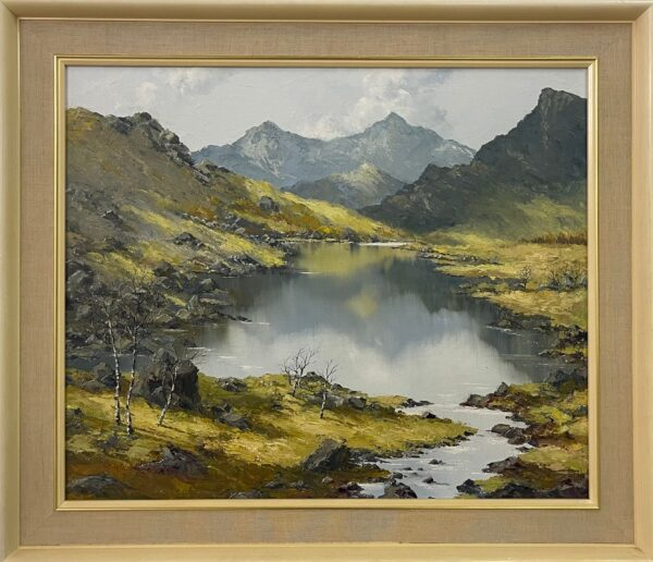 Welsh Landscape with Mountains & Lake Impasto Oil Painting by British Artist Charles Wyatt Warren (1908-1993)Welsh Landscape with Mountains & Lake Impasto Oil Painting by British Artist Charles Wyatt Warren (1908-1993)