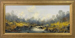 Welsh River Landscape with Birch Trees Oil Painting by British Impasto Artist Charles Wyatt Warren (1908-1993)5