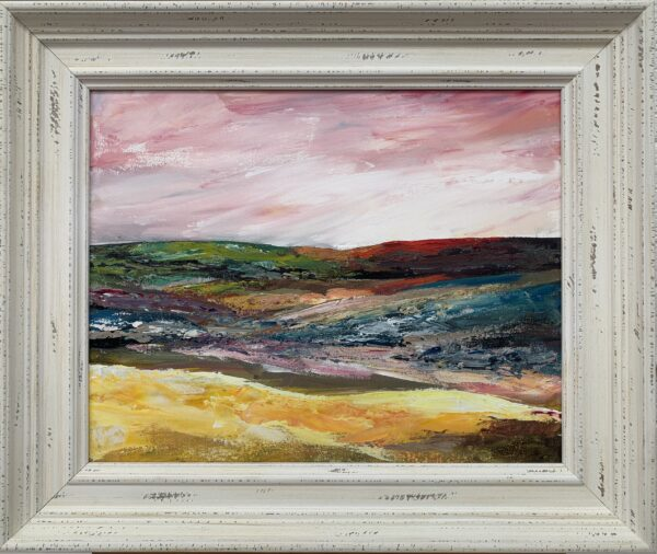 Colourful English Moor Abstract Landscape with Pink Sky