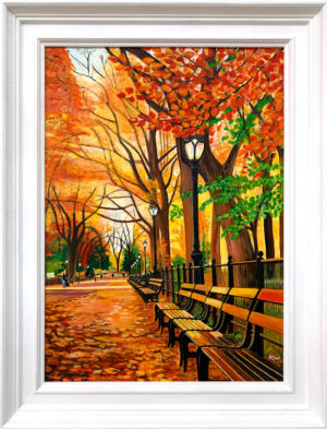 Painting of Central Park Autumn Fall by Angela Wakefield