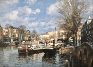 Original Painting of Amsterdam Canal by Cees Muller