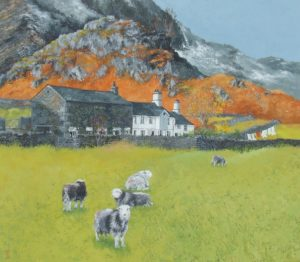 Painting of Fell Foot Farm, Langdale, Lake District