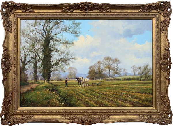 Traditional Oil Painting of the English Countryside with Horses
