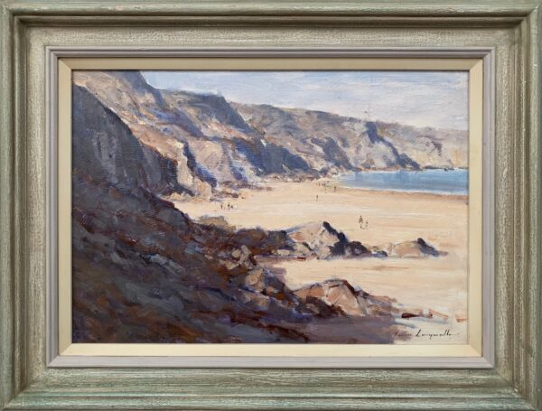 Landscape Seascape Painting of The Little Bay in Jersey