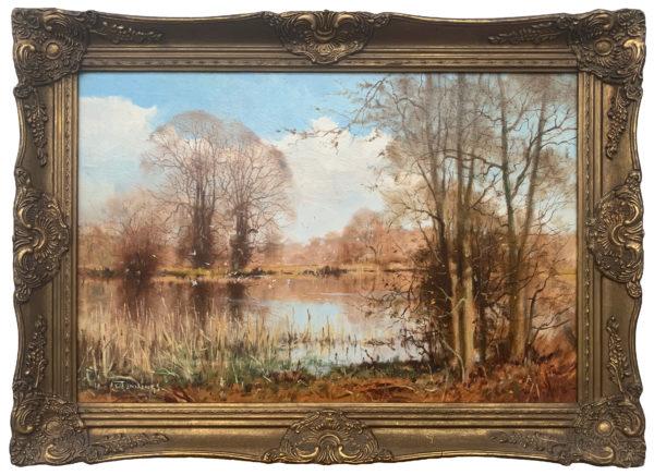 'Winter Gulls' Original Landscape Oil Painting by 20th Century British Artist Walter Robin Jennings