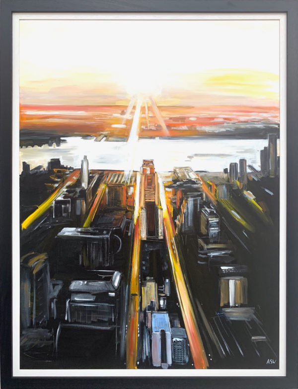 Painting of Aerial View of Manhattan Island New York City by Angela Wakefield