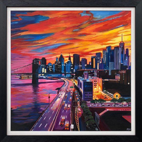 Painting of Brooklyn Bridge, New York City Skyline by Angela Wakefield