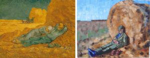 Noon Rest from Work (after Millet) by Van Gogh 1890 and Anthony D. Padgett 2017