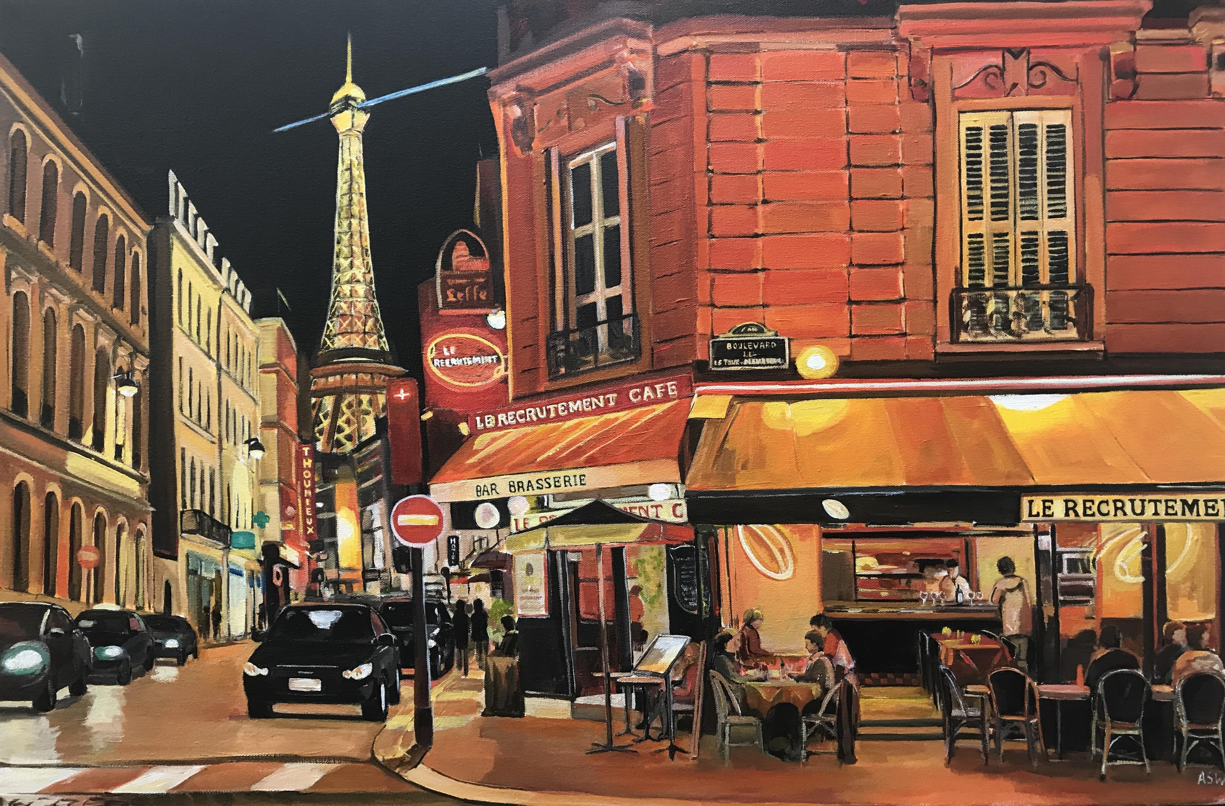 parisian caf original painting of paris france. Black Bedroom Furniture Sets. Home Design Ideas