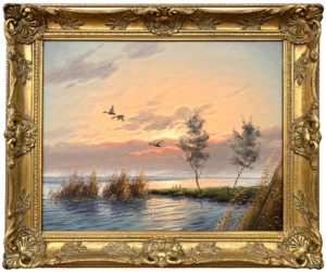 Mallard Ducks in Flight River Landscape Sunset by Dutch Painter Gien Brouwer