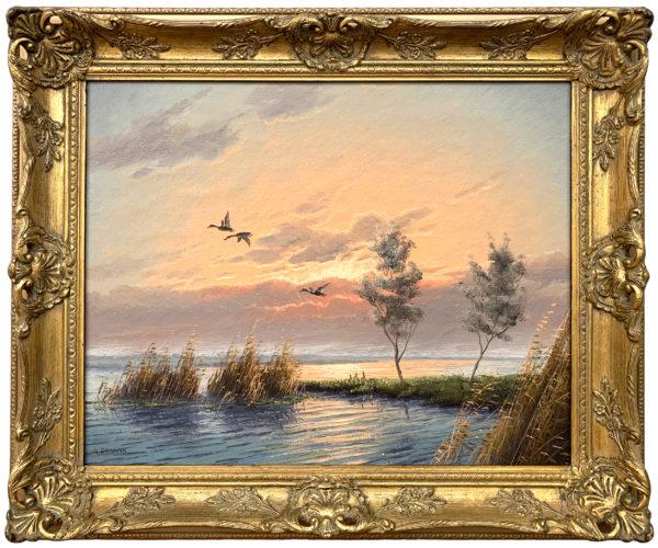 Mallard Ducks in Flight River Landscape Sunset by Dutch Painter Gien Brouwer