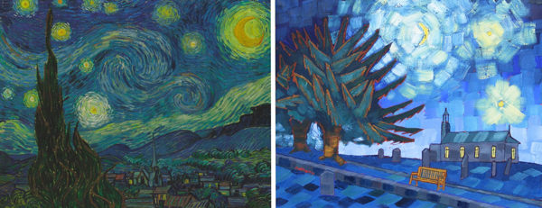 Starry Night 2017 by Anthony D. Padgett (after Van Gogh Saint Remy 1889)
